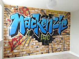my boys would love this in their new rooms freddies room cool faux brick wall graffiti for boys room