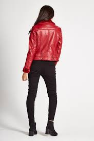 liquourish red pu leather jacket