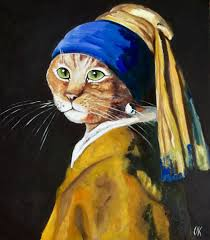 pearl earring painting cat with the pearl earring olga koval