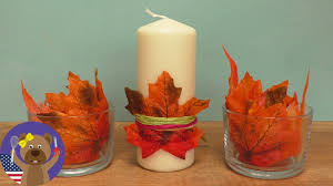 fall decoration with leaves and candles led candles
