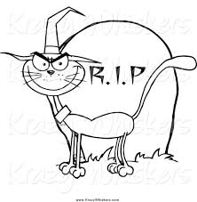 critter clipart of a lineart halloween witch cat by a tombstone by