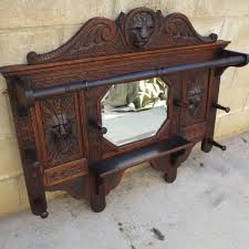 french carved antique wall mirror antique coat rack antique hat