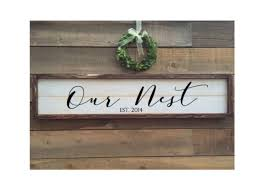 a personal favorite from my etsy shop https www etsy com listing our nest custom sign vintage home decor