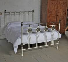 rare white and aged brass kingsize art nouveau brass and iron bed