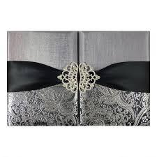 Wedding Invitation Pocket Black U0026 Metallic Silver Brocade Wedding Invitation Pocket Folder