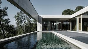 house of pool concrete house by marte marte architects has pool facing rhine valley