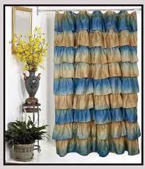 Austrian Balloon Curtains Carmen Austrian Balloon Fabric Shower Curtain Blue Gold