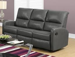 Grey Leather Reclining Sofa by Modular 3 Piece Bonded Leather Reclining Sofa With Waterfall Back