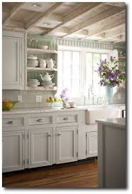 bhg cottage kitchen with seafoam green painted beadboard walls