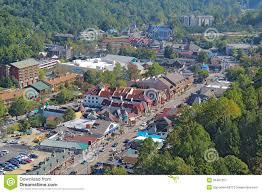 Gatlinburg Map Aerial View Of The Main Road Through Gatlinburg Tennessee Royalty