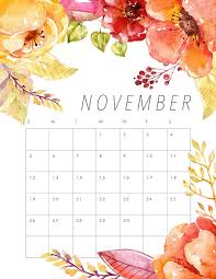 free printable 2017 floral calendar date of thanksgiving