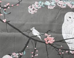 Cherry Blossom Upholstery Fabric Owl Fabric Etsy