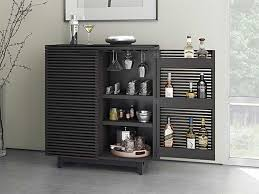 Compact Bar Cabinet Bdi Corridor 36 L X 18 5 W Charcoal Stained Ash Compact Bar