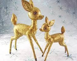 Glitter Reindeer Christmas Decorations by Gold Glitter Deer Etsy