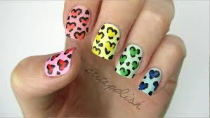 rainbow heart leopard nails youtube