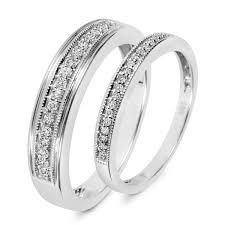wedding band sets 1 4 ct t w diamond his and hers wedding band set 10k white gold