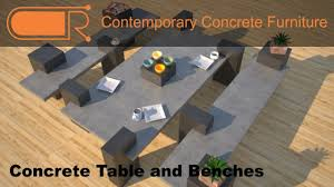 Cement Patio Table Concrete Table And Benches Concrete Patio Furniture Designs By