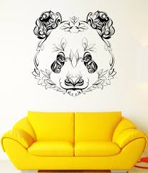Wall Decals Patterns Color The by Wall Vinyl Sticker Decal Panda Animal Head Color Pattern Petals