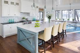 Blue Kitchens With White Cabinets Blue Kitchen Island With Yellow Maze Fabric Counter Stools