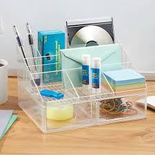 organiseur bureau organiseur de bureau transparent 7 compartiments 2 tiroirs