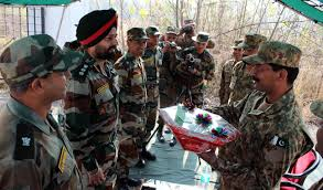 Photo Editor Pakistan Flag India And Pakistan Army Officers During Flag Meeting At Chakan Da