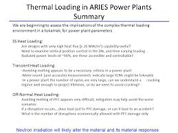 High Heat Plants Heat Loading In Aries Power Plants Steady State Transient And