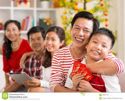tet envelopes happy family celebrating tet stock photo image 62827378