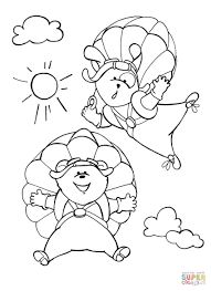 dog and bear enjoy their parachute flying coloring page free