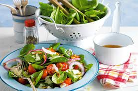 spinach salad with warm lemon and garlic dressing tesco real food