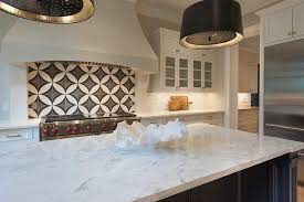 black and white circle kitchen backsplash tiles transitional