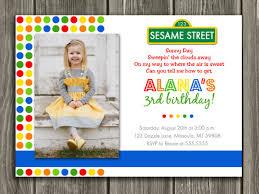 sesame street inspired birthday photo invitation printable