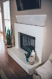modern white brick fireplace u0026 walnut mantel diy u2013 the southern trunk