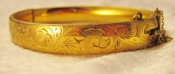 Customized Gold Bracelets Superior Quality Edwardian Engraved Gold Bangle Hobart Town