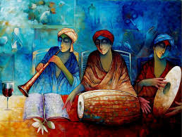 indian musicians iii by artist ram onkar acrylic paintings