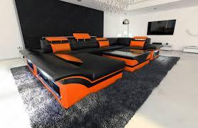 Orange Sofa Bed by Big Leather Sofa Enzo With Led Lights Black Orange Ebay