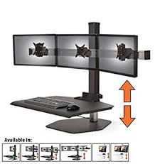 adjustable monitor stand for desk amazon com stand steady winston workstation triple monitor mount