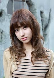 2014 wavy medium length hair trends asian girls shoulder length wavy hairstyle with full bangs