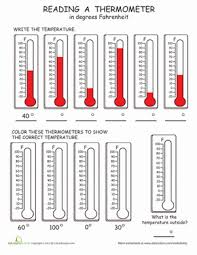 reading the thermometer worksheet education com