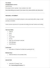 Resume Accounting Examples by Cv Format Resume Accounting Resume Template U2013 11 Free Samples