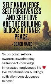Inner Peace Meme - self knowledge self forgiveness and self love arethe building blocks