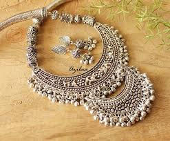 silver necklace sets images Designer statement jewellery set ethnic necklace and earrings at jpg