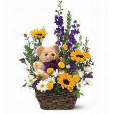 online florists riyadh basket delivery mixed flowers and teddy