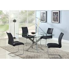 Square Glass Dining Tables Chintaly Imports Pixie Dt Pixie Pixie Square Tempered Glass Dining