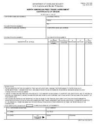 american free trade agreement certificate of origin forms