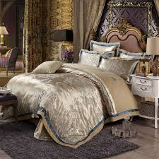 Gold Bed Set Luxury Cotton Silk Gold Bedding Sets Embroidered Jacquard
