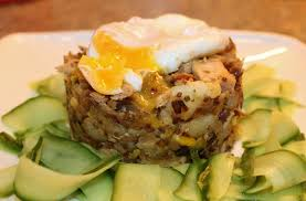 poached tuna crushed tuna and leek potato cakes topped with a runny poached egg