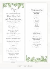 wedding invitation program pine branch wedding program sle paperwhites wedding invitations