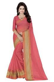 peach color poly cotton silk saree zinnga