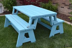 Picnic Table With Benches Plans Convertible Picnic Table And Bench Buildsomething Com