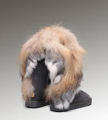 womens ugg boots fox fur ugg leather moccasins cheap ugg fox fur boots 8688 grey